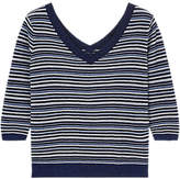 Gerard Darel Flocon Pure Cotton Striped Jumper, Blue