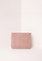 Missguided Woven Detail Clutch Bag Pink