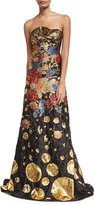 Naeem Khan Metallic Floral Brocade Strapless Evening Gown