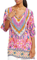 Tolani Felisity Printed Side Slit Sleeve Tunic