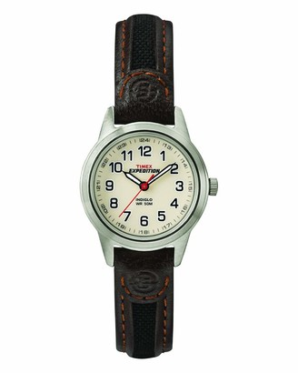 Timex Women's T41181 Expedition Field Mini Black/Brown Nylon/Leather Strap Watch