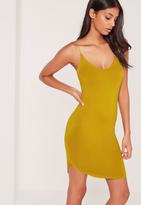 Missguided Strappy Curve Hem Mini Dress Chartreuse