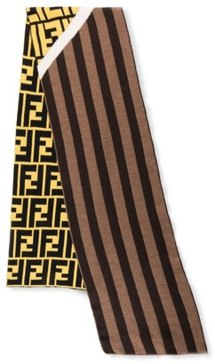 Fendi Striped Wool Fleece Scarf