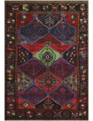 """Harmon Noori Rug One-of-a-Kind Distressed Hand-Knotted 5'1"""" x 7'2"""" Wool Red Area Rug Noori Rug"""