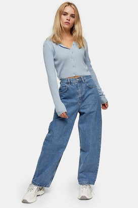 Topshop Womens Petite Mid Stone Baggy Jeans - Mid Stone