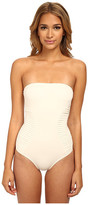 Vince Camuto Key West Style Pleated Bandeau Maillot w/ Removable Soft Cups & Strap