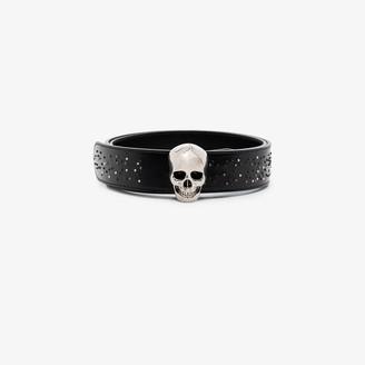 Alexander McQueen Black Skull Buckle Leather Belt