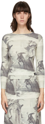 pushBUTTON White and Black Story Print Long Sleeve T-Shirt
