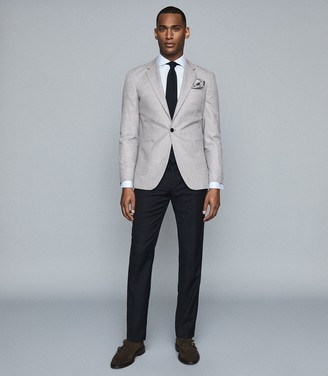 Reiss GENERAL CHECKED SLIM FIT BLAZER Soft Grey