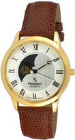 Peugeot Mens Brown Leather Strap Sun/Moon Phase Watch 2047GBR