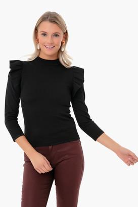 Pomander Place White Ruffle Long Sleeve Sweater