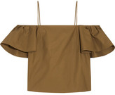Fendi Off-the-shoulder Cotton-poplin Top - Brown