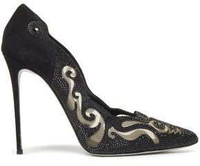 Rene Caovilla Rene' Caovilla Electric 115 Crystal-embellished Laser-cut Suede And Mesh Pumps
