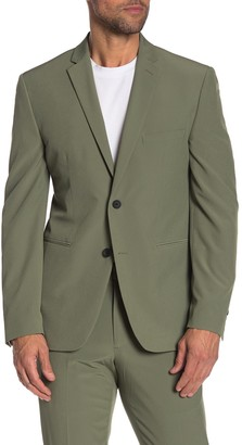 Perry Ellis Green Solid Two Button Notch Lapel Very Slim Fit Performance Tech Suit Separates Jacket