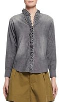Etoile Isabel Marant Awendy Ruffled Chambray Shirt, Gray