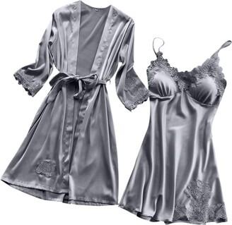 Loeay Women's Pajamas Set Loungewear Long Sleeves Sexy Nightwear Night Dress Nightgown Lace Night Gown Silver M