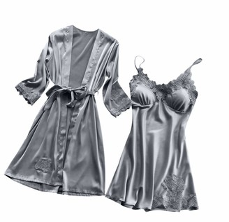 Ronamick Women Sexy Silk Lace Solid Robe Dress Lingerie Babydoll Nightdress Sleepwear Kimono Cardigan Pajamas Suit (S