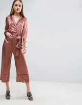 Asos Pyjama Style Jumpsuit In Satin