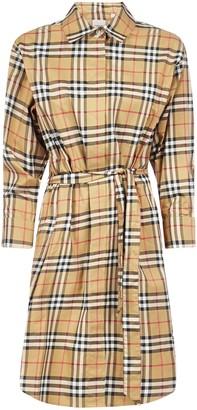 Burberry Isotto Vintage Check Print Cotton Shirt Dress