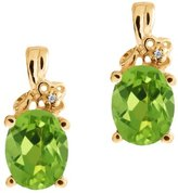 Gem Stone King 2.31 Ct Oval Green Peridot and White Diamond 18k Yellow Gold Earrings