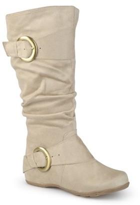Brinley Co. Women's Wide-Calf Buckle Knee-High Slouch Microsuede Boot