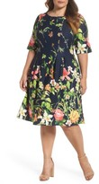 Gabby Skye Plus Size Women's Floral Scuba Fit & Flare Dress