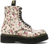R 13 Embroidered Leather Stack Boots in White,Floral.
