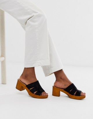Asos Design DESIGN Trick heeled mule sandals in black
