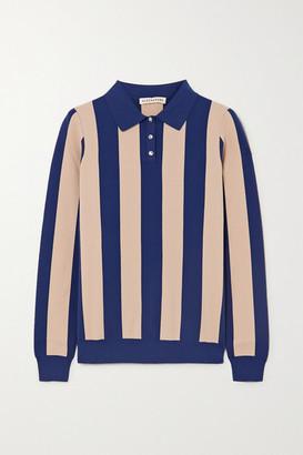 ALEXACHUNG Striped Stretch-jersey Polo Shirt - Navy