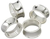 Elégance Beaded Round Napkin Rings, Silver-Plated, Set of 4