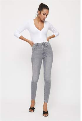 Dynamite Kate Ultra High Rise Skinny Jeans Coastal Storm Gray Wash