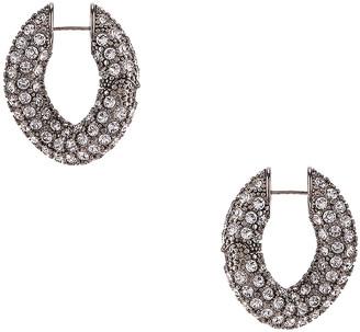 Balenciaga Strass Loop Earrings in Crystal & Antique Silver | FWRD