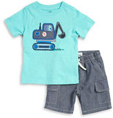 Kids Headquarters Boys 2-7 Little Boys Digger Tee and Shorts Set
