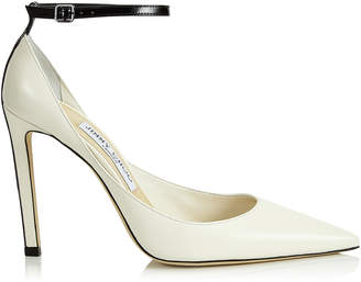 Jimmy Choo HELIX 100 Latte Nappa Leather Pump with Contrasting Black Patent Strap