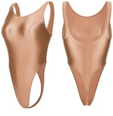 Thumbnail for your product : LEOHEX Women's Shiny Swimsuit T Back Sexy Summer Leotards Bikini Thong One Piece Backless Satin Glossy Bodysuit (Nude Color XL)