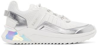 Balmain White and Silver B-Trail Sneakers