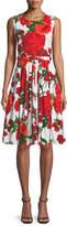 Samantha Sung Rachel Sleeveless Geranium-Print Day Dress
