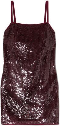 STAUD Minnie Sequined Chiffon Mini Dress
