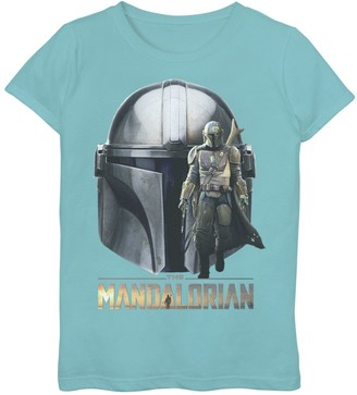 Star Wars Girls 7-16 The Mandalorian Helmet Portrait Mashup Graphic Tee