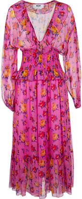 MSGM Floral Print Long Dress