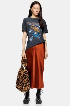 Topshop Womens Rust Split Satin Bias Midi Skirt - Rust