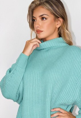 Missguided Green Grown On Neck Long Sweater
