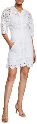 Rebecca Taylor Mina Short-Sleeve Eyelet Dress