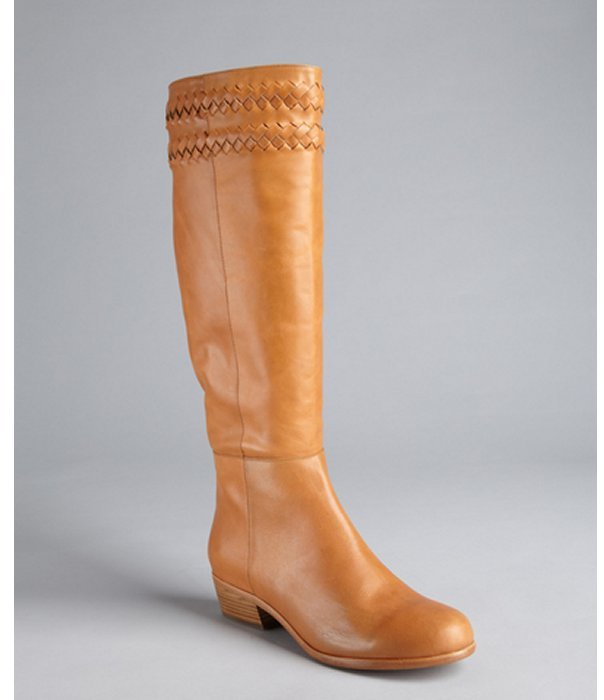 Joie cognac leather braided trim 'Night Watch' tall boots