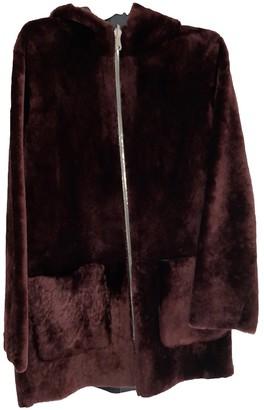 Sandro Fall Winter 2019 Burgundy Shearling Coats