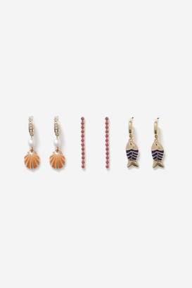 Topshop Fish and Shell 3 Pack Drop Earrings