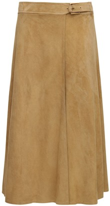 Ralph Lauren Collection Wrap Suede Midi Skirt