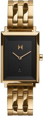 MVMT Signature Square Black Dial Gold Tone Bracelet Watch