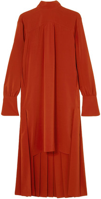 Chloé Asymmetric Pleated Silk Crepe De Chine Dress