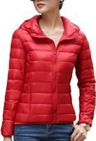 CHERRY CHICK Women's Packable Down Jacket with Hood Dark Purple